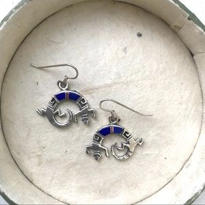 Jewelry - Sterling and Lapis Kokopelli Earrings